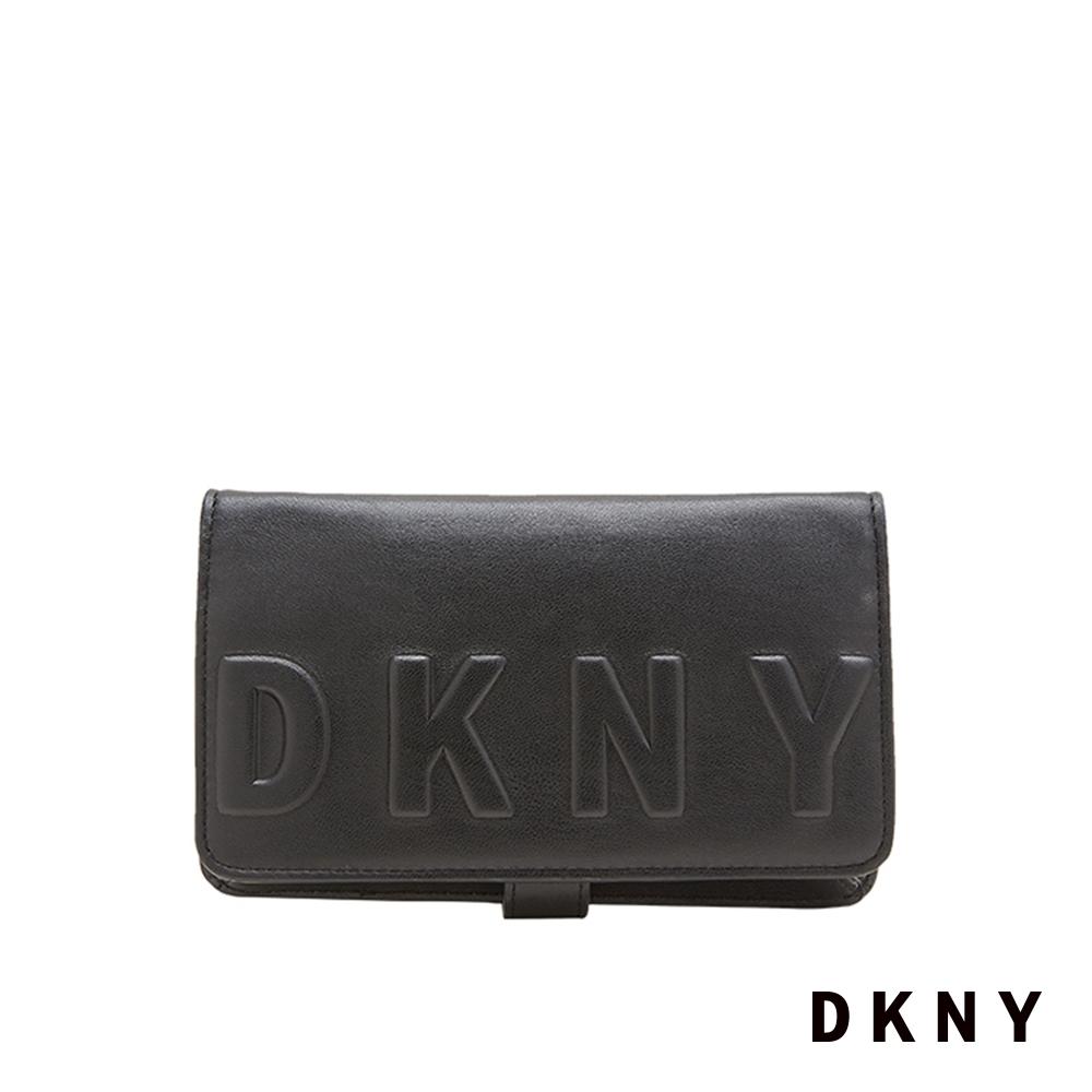 DKNY LOGO字母斜背皮夾 黑