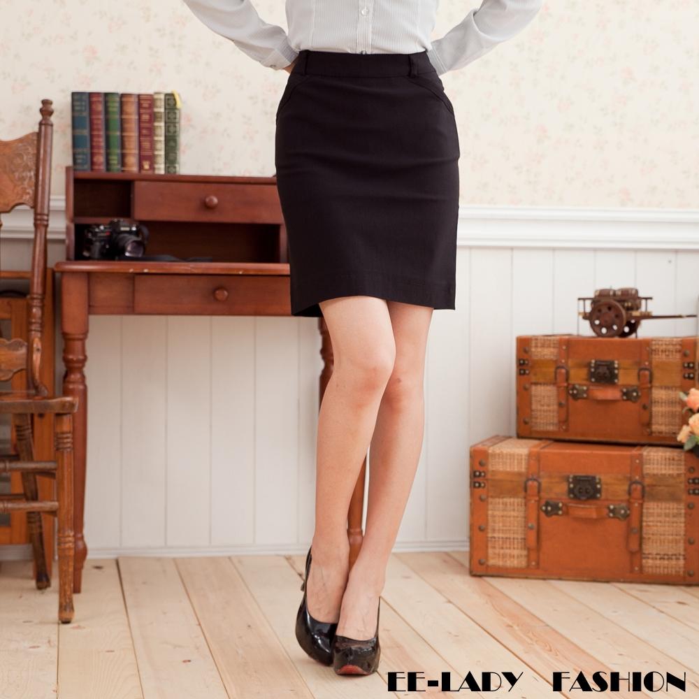 OL後開叉斜口袋黑色彈性窄裙-EELADY