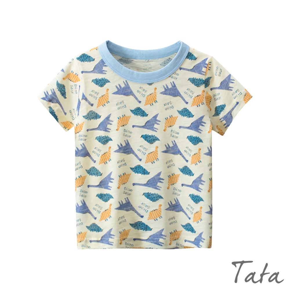 童裝 撞色滿版恐龍印花上衣 TATA KIDS