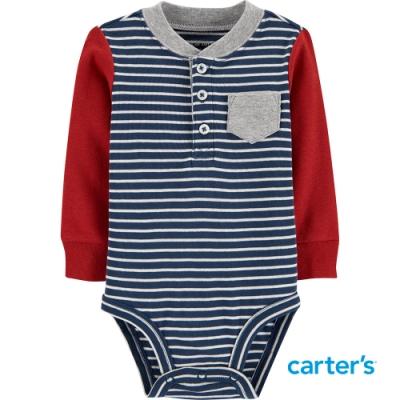 【Carter s】紅藍條紋長袖包屁衣(6M-24M)(台灣總代理)