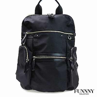FUNNNY 日本同步 真皮x尼龍系列後背包 渡邊 佳子 黑