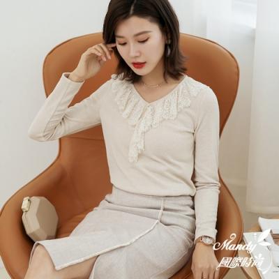 Mandy國際時尚 長袖上衣 秋 氣質V領修身蕾絲上衣(3色)【韓國服飾】
