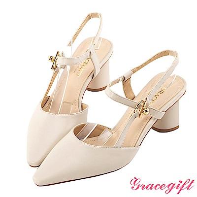 Grace gift-側縷空繫帶造型跟鞋 米白