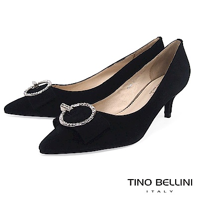 Tino Bellini秀麗閃鑽飾釦全真皮低跟鞋 _ 黑