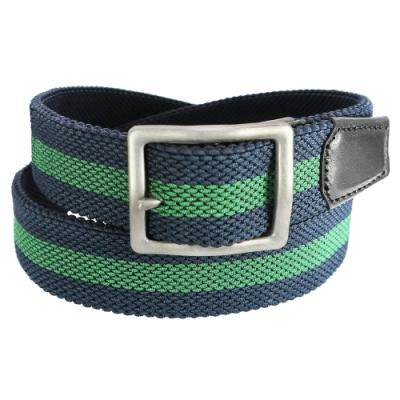 CH-BELT彈性免打孔雙配色織帶皮帶腰帶(藍綠)