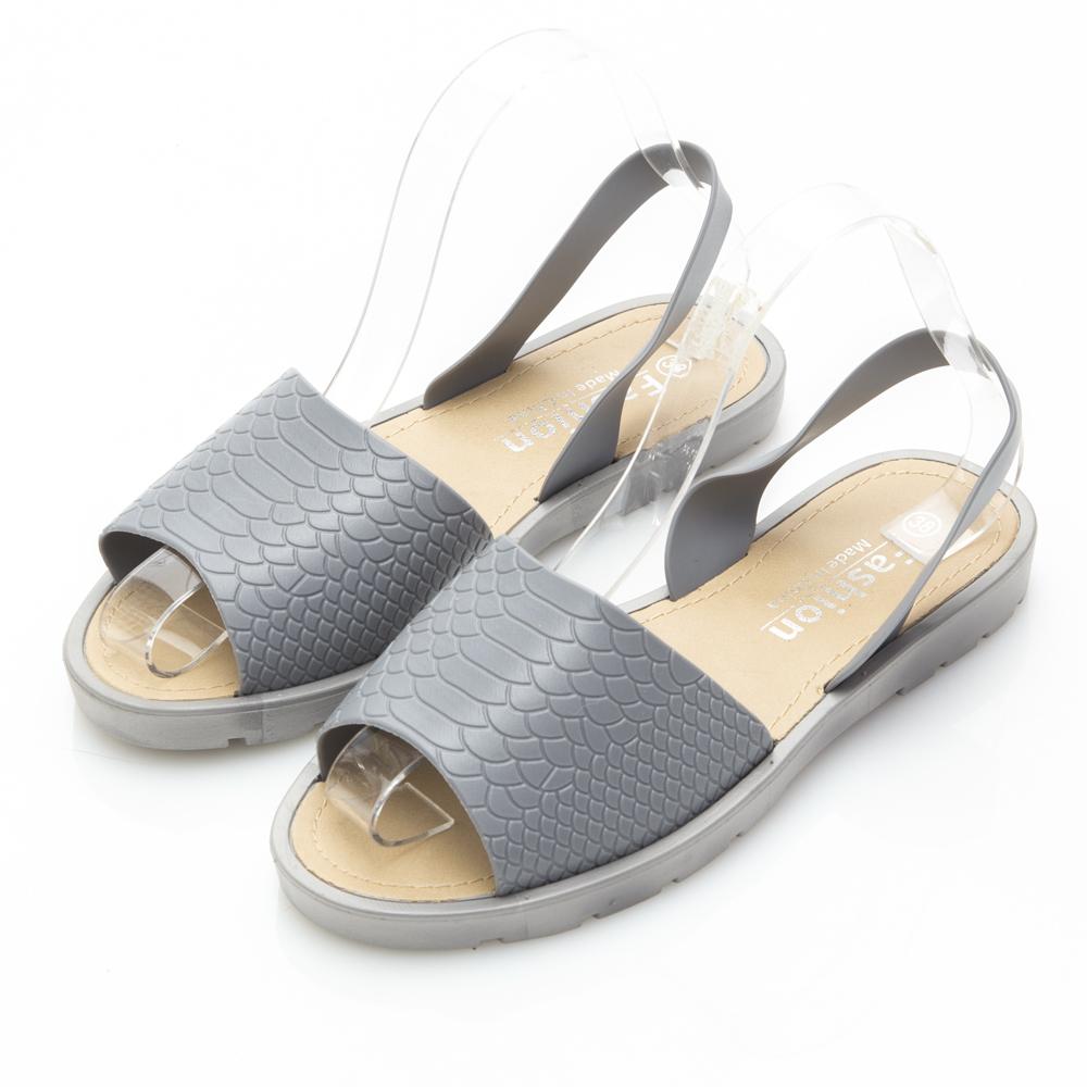 JMS-雨天剋星素面魚口PU防水涼鞋-灰色