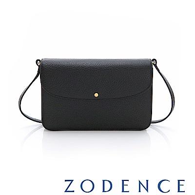 ZODENCE ERATO系列進口彩色牛皮圓蓋皮夾包(大)黑