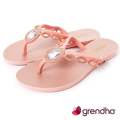 Grendha 羅馬風情寶石夾腳鞋-粉橘