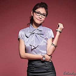 OL氣質小包袖紫色襯衫贈領巾-EELADY