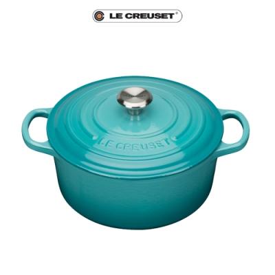 [任4件6折] LE CREUSET典藏琺瑯鑄鐵圓鍋22cm(加勒比海藍)鋼頭