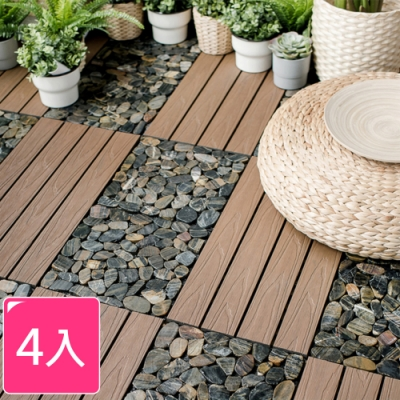 【Meric Garden】環保防水防腐拼接加厚大理石塑地板_4入