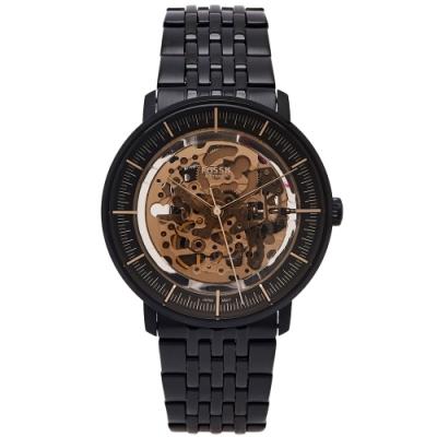 FOSSIL 鏤空機械錶不鏽鋼錶帶手錶(ME3163)-鏤空機芯面x黑色/42mm