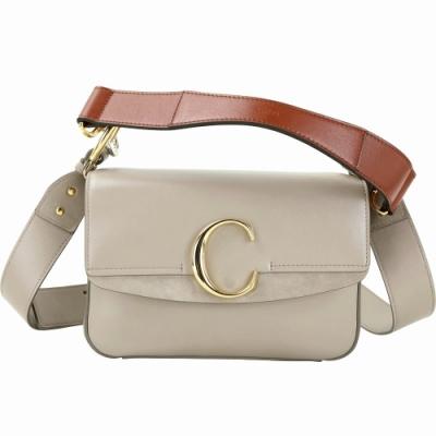CHLOE C Bag 小款 光滑小牛皮拼接麂皮肩背手提兩用包(灰色)