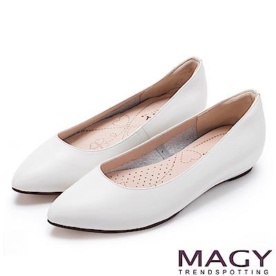 MAGY 清新氣質款 親膚舒適尖頭平底鞋-白色