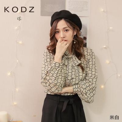 東京著衣-KODZ 奢侈浪漫印花圖騰雪紡領結上衣
