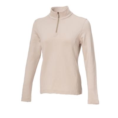 【WILDLAND荒野】女彈性立領拉鍊印花保暖衣白色
