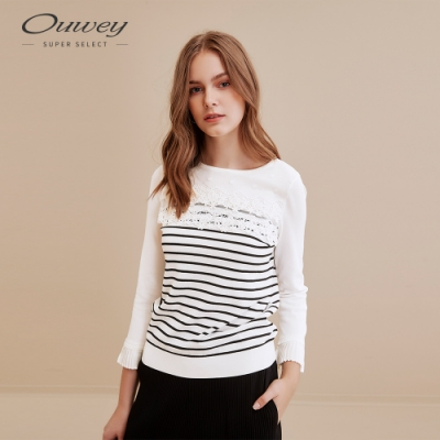 OUWEY歐薇 經典蕾絲條紋拼接針織衫(白)