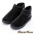 River&Moon大尺碼情侶款-百搭扣環雪靴-黑