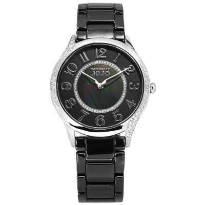 NATURALLY JOJO / 時尚迷人 珍珠母貝 閃耀晶鑽 陶瓷手錶-黑色/36mm