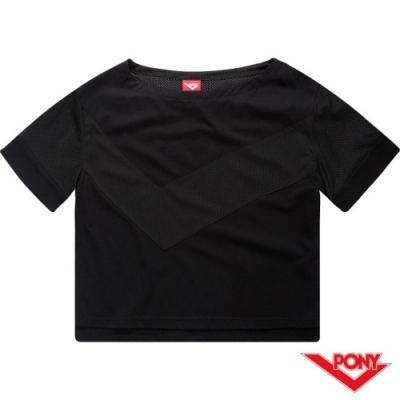 【PONY】城市感風格拼接短袖上衣-女-黑