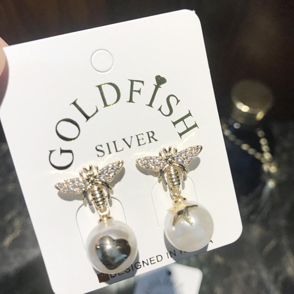 梨花HaNA 韓國好質感S925銀針蜜蜂採珍珠耳環