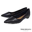 Tino Bellini 巴西進口細緻皮紋舒足低跟鞋_ 黑
