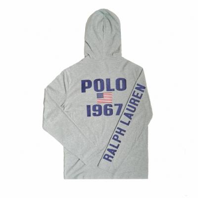 Polo Ralph Lauren 經典刺繡大馬背後印刷棉質薄款連帽T恤-灰色