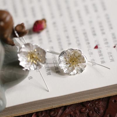 東方美學森系文藝立體花朵長版純銀耳環-設計所在