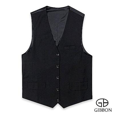 GIBBON 時尚修身西裝背心‧黑色