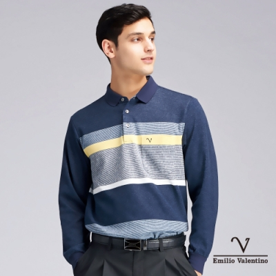Emilio Valentino范倫鐵諾彩漾細緻橫紋POLO衫_藍(21-9V2850)