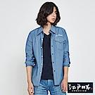 EDWIN EDOKATSU 江戶勝 氣質點點長袖襯衫-男-重漂藍