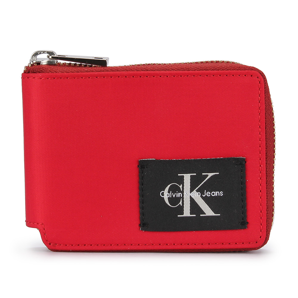 Calvin Klein 經典LOGO尼龍拉鍊短夾-紅色