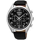SEIKO 都會商務風三眼計時石英腕錶(SSB231P1)-黑x42mm