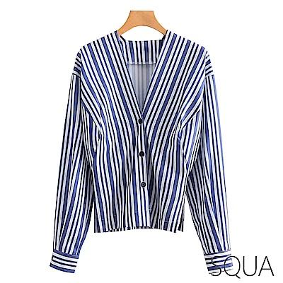SQUA V領直條紋顯瘦襯衫