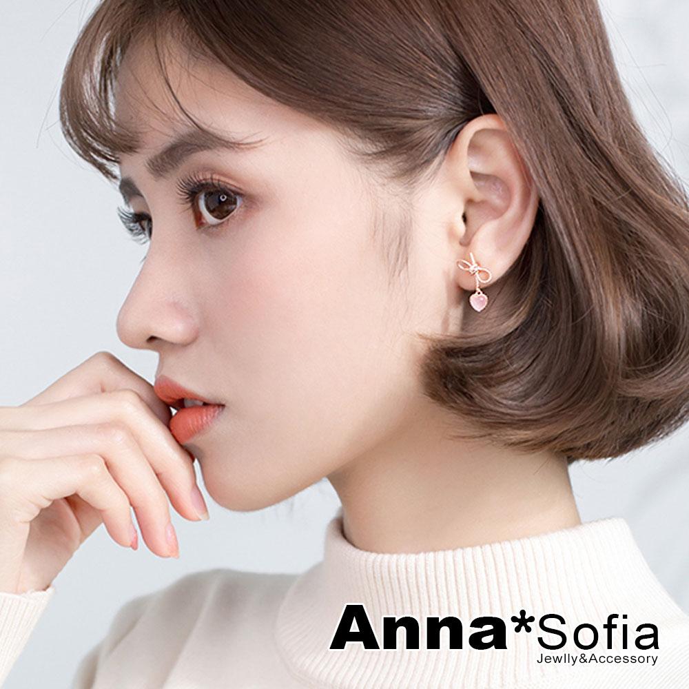 【3件5折】AnnaSofia 綁結垂貓眼桃心 925銀針耳針耳環(金系)