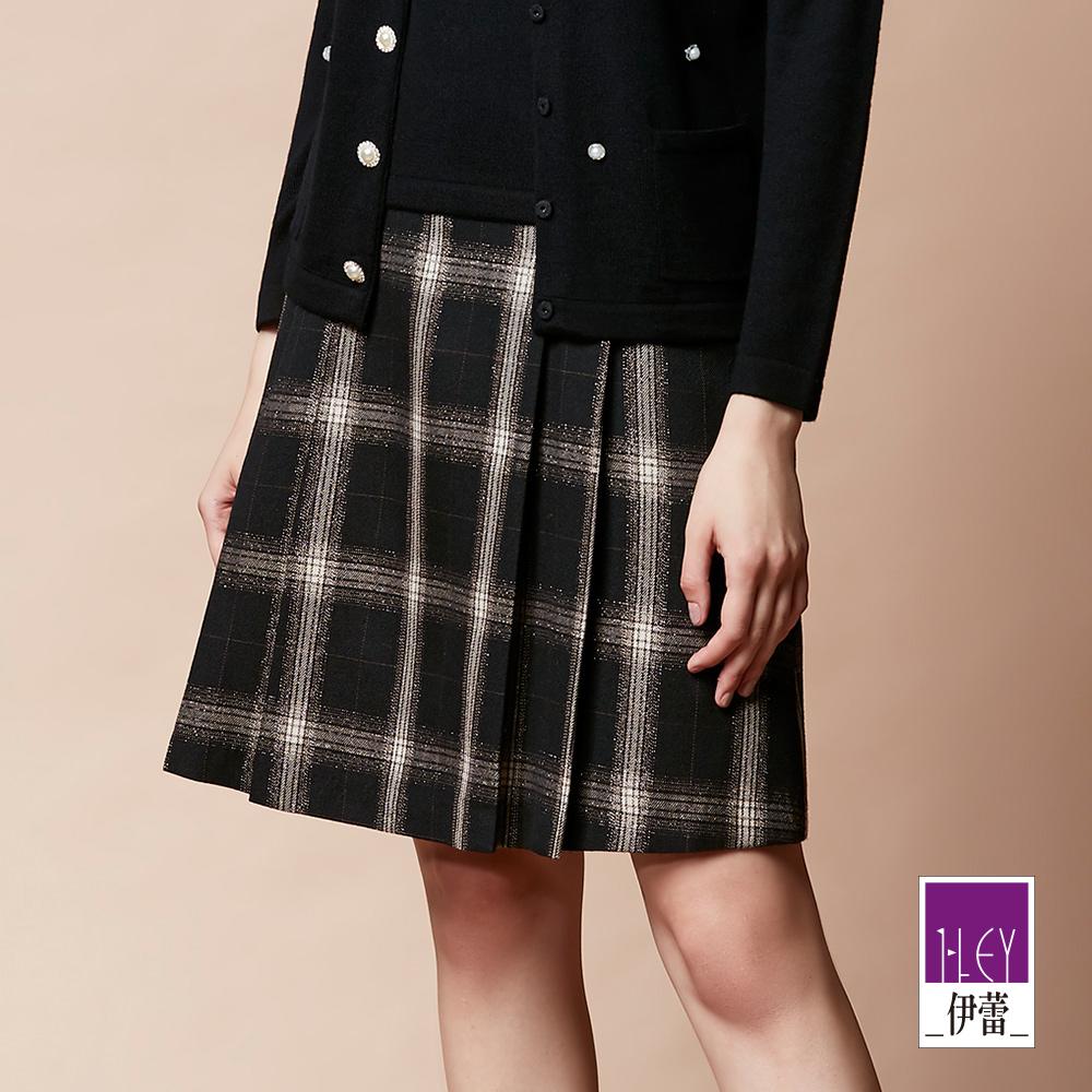 ILEY伊蕾 學院風織蔥格紋打褶A字裙(黑) @ Y!購物