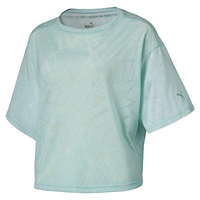 PUMA-女性訓練系列Show Off短袖T恤-輕水藍-歐規