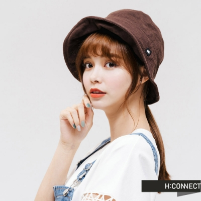 H:CONNECT 韓國品牌 配件 -活力棉麻漁夫帽-咖啡色