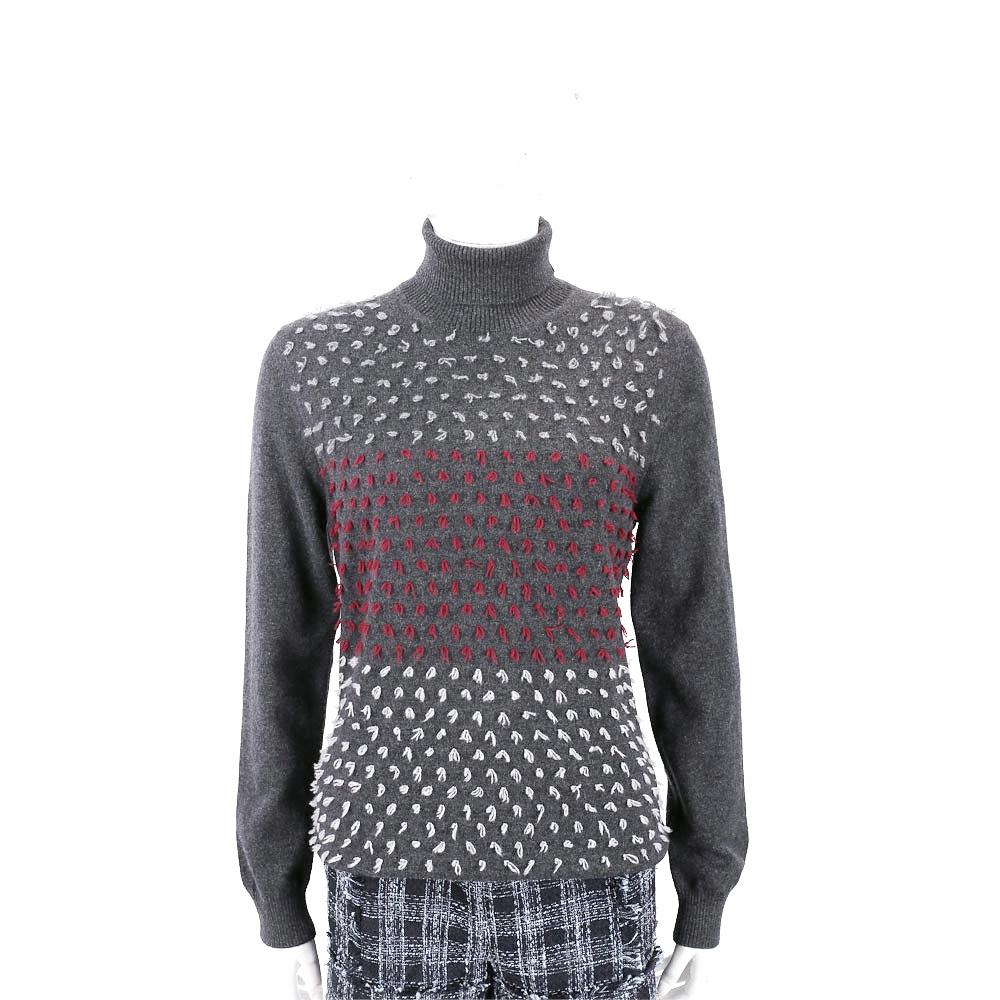 Andre Maurice 喀什米爾立體線頭深灰色高領羊毛衫