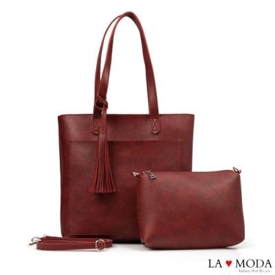 La Moda 大容量流蘇綴飾多背法托特包子母包(紅)
