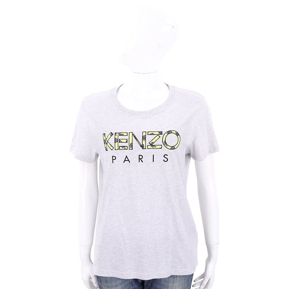 KENZO 玫瑰字母設計灰色棉質短袖T恤