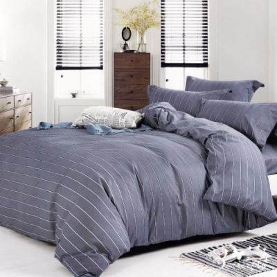 BUTTERFLY-柔絲絨條紋四件式全鋪棉兩用被床包組-歐曼風尚(雙人)