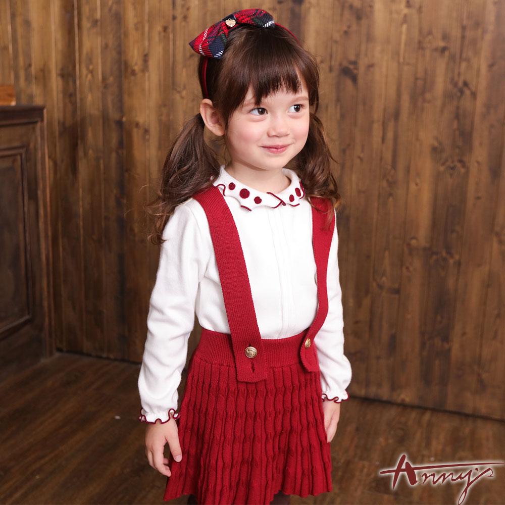 Annys夢幻紅帽紅百褶壓紋寬版吊帶裙*6274紅