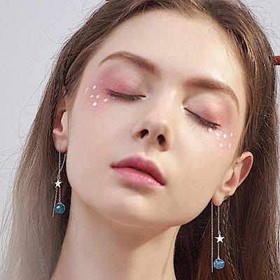 梨花HaNA 韓國925銀海洋之眸藍砂石耳線耳環