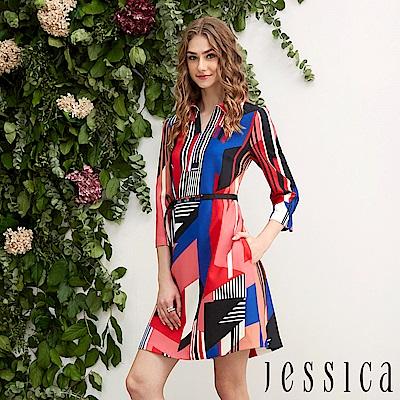 JESSICA - 氣質幾何設計修身洋裝