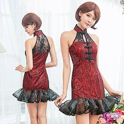 Sexy Cynthia角色扮演 古典黑紅魚尾裙襬旗袍角色扮演服二件組-紅F