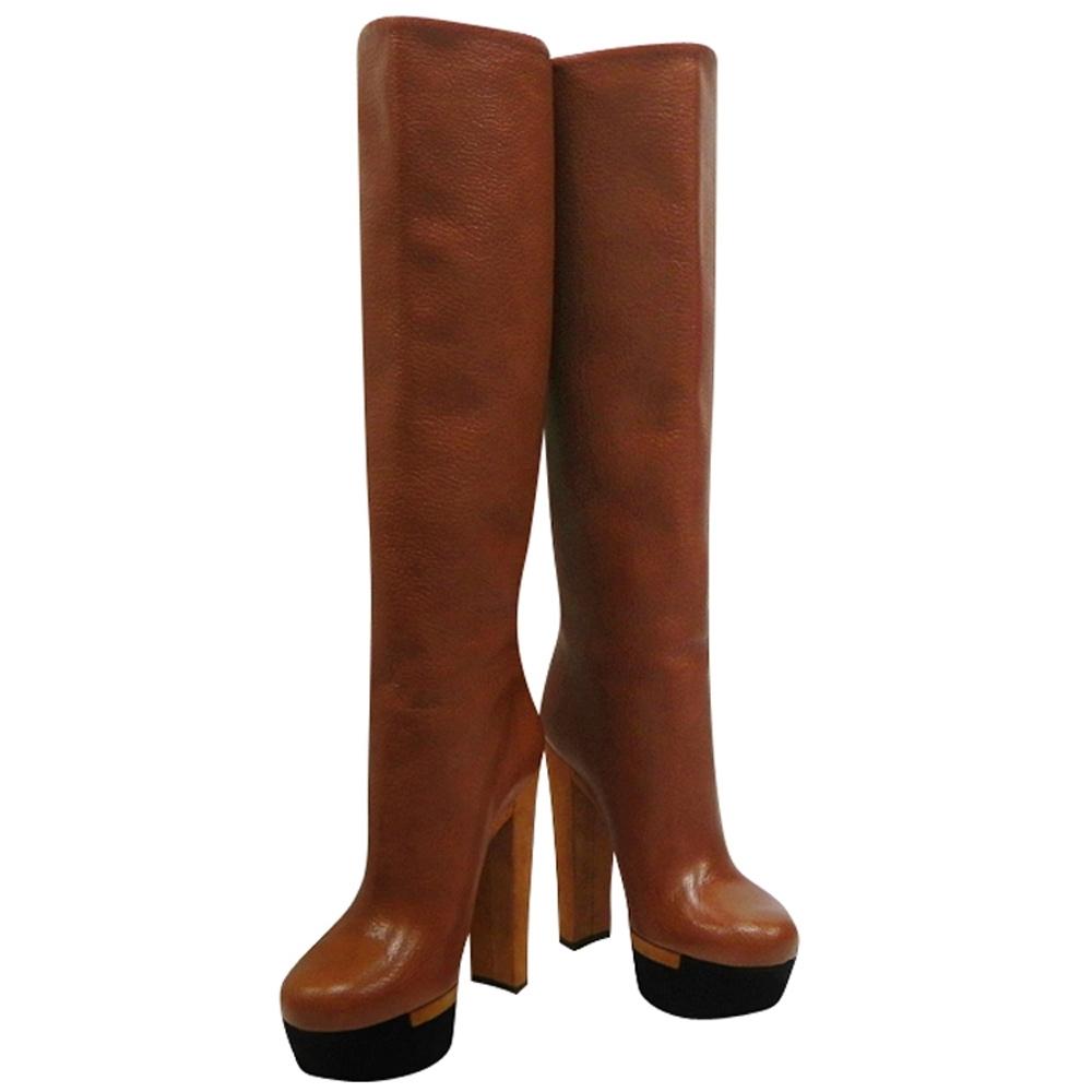 GUCCI 焦糖色真皮厚底時尚高跟長靴(36.5號)