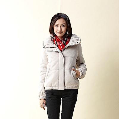 【TOP GIRL】棉針織布 3 M舖棉立領外套-淺卡其