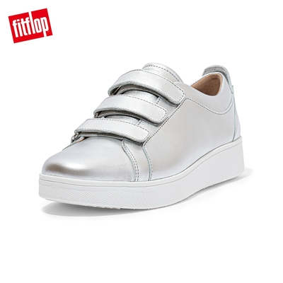 【FitFlop】RALLY QUICK STICK FASTENING LEATHER SNEAKERS 運動風休閒鞋-女(銀色)