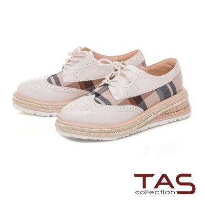 TAS 異材質拼接雕花草編厚底牛津鞋-質感米